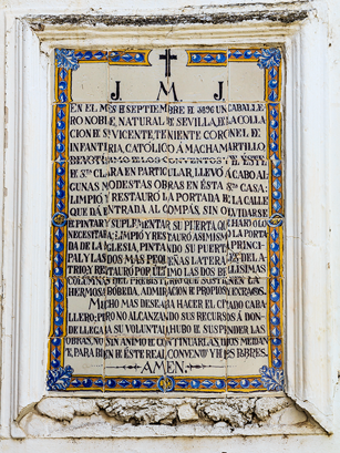 Inscripción en la Iglesia de Santa Clara de Sevilla