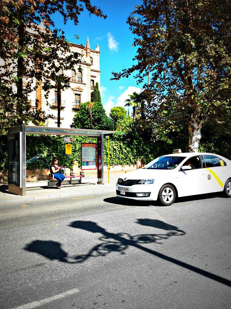 Taxi pasando por el Palacio de San Telmo