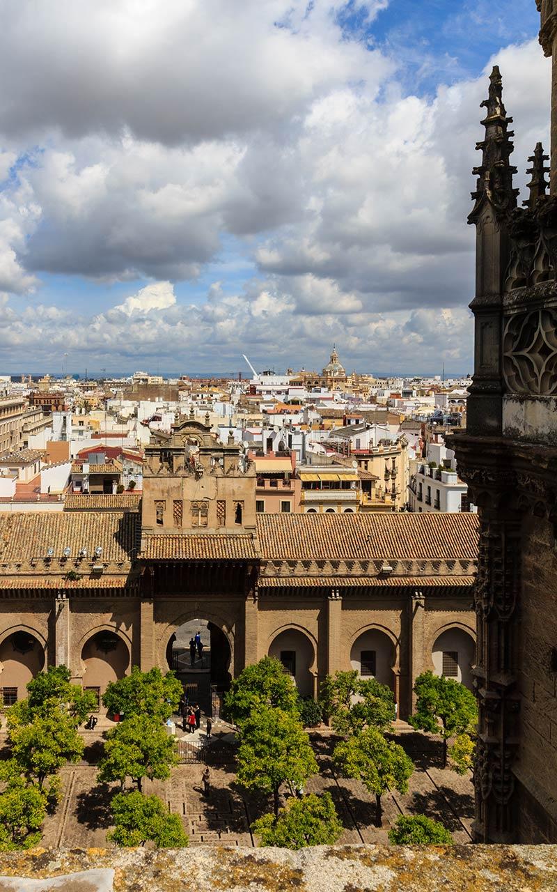Panorámica del Patio de los Naranjos con Sevilla al fondo
